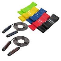 Ленты сопротивления с 2 пакетом скакалкой резистентности резистентности фитнес-петли ленты для домашнего спортзала Йога тренировки