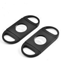 Pocket Portable Plastic Stainless Steel Double Blade Cigar Knife Scissors Tobacco Black Cutter