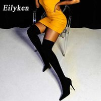 Eilyken 2021 Fashion Stretch Fabric Sock Boots Pointy Toe Over-the-knee Heel Thigh High Pointed Woman Boot Size 35-42