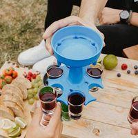 6 Strumenti di vetro Shiot Strumenti Dispenser Holder Vino Carriera Caddy Liquor Party Beverage Bere Barware Cocktail Pourtore Colorful Cups