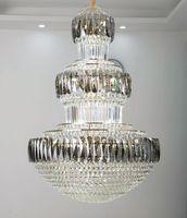 Nouveau luxe K9 Crystal Lustre Long Staircase Lampe Duplex Salon Hôtel Lobby Décoration Lustre LED Lights