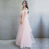 Vestido de dama de honor Color Color Long Sister Bote Cuello Rosa Alojado para invitados de fiesta de bodas