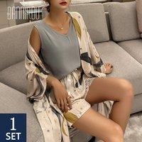 Bannirou 100% viscose Femmes Pyjamas Ensembles Floral Impression Pyjamas Ensemble Femelle Night Wear Ensembles Cuissons Neuf 4 pièces 2021 Printemps L0304