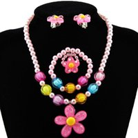 Earrings & Necklace Candy Beads Resin Plastic Kids Jewelry Set For Children Flower Pendants Cute Bracelet Ring Baby