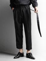 Men's Pants Loose Large Size Fashion Trend Versatile Casual Solid Color Hook Belt Standard Straight Capris Suit