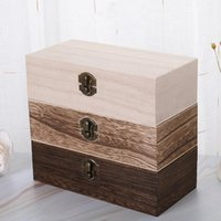 Garrafas de armazenamento frascos 20pcs grande caixa de madeira log cor pinho retangular flip sólido madeira presente artesanal jóias caso 20x10x6cm
