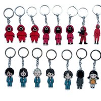 12Styles Party Favor Halloween Squid Game Keychain Fidget Toy Soldier Triangle Series Creative Charms 3d Mini Doll Figurine Key Ring Car Backpack Pendant Ornament
