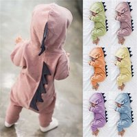 Neugeborene Säuglings Baby Jungen Mädchen Dinosaurier mit Kapuze Romper Overall Outfits Kleidung Kawaii Feste Kleidung Overall für Unisex 123 Q2