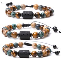 12 Constellation Classic Strands Couple Bracelet Picture Tiger Eye Natural Stone Round Beaded Bangle Drawstring Free Size Healing Bracelets