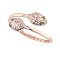 Bracelet de designer de luxe pour femme bracelet bracelet créatif de la mode double serpent ouverture en acier inoxydable bracelets de diamant bijoux