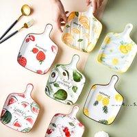 المقالي الخبز اليابانية مع مقابض الجبن الخبز عموم الإبداعية يستخدم لوحات السيراميك الفراولة فرحة الفراغ صينية EWC6569