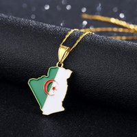 Country Algeria Map & Flag Pendant Necklace Gold Color Trend...