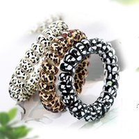 Women Girl Telephone Wire Cord Gum Coil Hair Ties Girls Elastic Hair Bands Ring Rope Leopard Print Bracelet Stretchy Hair Ropes BWE8601