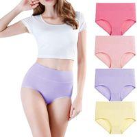 Women's Panties 4Pcs Lot With High Waist Underwear Ladies Soft Solid Cotton Briefs Large Siza Lingerie Plus Size XXXL Underpants