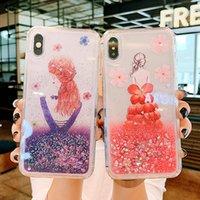 럭셔리 꽃 Quicksand 전화 케이스 아이폰 11pro se xs max xr x 6s 7 8 플러스 귀여운 만화 소녀 반짝이 동적 액체 커버