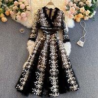 Высокая талия A-Line с длинным рукавом платья платья на взлетно-посадочные полосы женщин 2021 элегантный бого винтажный весенний осень роскошные вечеринки кружевные вышивка