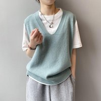 Women's Vests Casual Solid Sweater Vest Women Autumn Winter Streetwear Korean Knitted For Sleeveless Jacket Gilet Femme