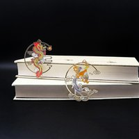 Bookmark Chinese Style Calligraphy And Painting Group Fan Book Clip Pagination Mark Metal Tassel Stationery School Office Supply