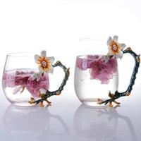 Tasse de tasse de café en verre émail Taza Te Vidrio Résistant à la chaleur de la chaleur Creative Copo avec boîte-cadeau