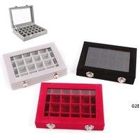 New24 الشبكة المخملية المجوهرات حلقة عرض المنظم مربع صينية حامل أقراط تخزين حالة عرض عرض تخزين مربع 24 قسم صناديق EWF5095