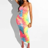 Neue Stil Frauen Kleider Bandage Bodycon Sleeveless Party Club Kurz trägerlosen dünnen bunten backlosen Kleid Mode HOT 20191