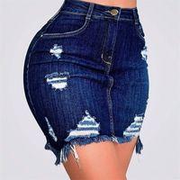 Solid Blue Jeans Gonna per le donne Summer Fashion Sexy High Vita Foro Casual Matita Denim Gonne Gonne Donna con tasche Pulsante S-XXL 210311