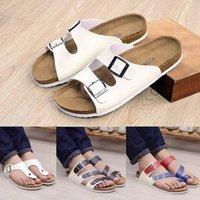 2016 Nuovo Unisex Summer Sandals Sandali Casual Donne PU Leather Misto Colore Flip Flops San Valentino Scarpe da banco Pantofole in sughero Sandalias Mujer S7nd #