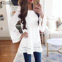 Zanzea mulheres blusa primavera feminino sólido oco out tops elegante camisa de manga longa casual lace crochet feriado blusas túnica