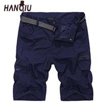 HANQIU 2020 Yaz Kargo Şort Erkekler Hızlı Kuru Kısa Pantolon Gevşek Rahat Şort Erkek Askeri Taktik Şort Homme Artı Boyutu X0601