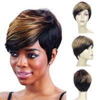 Synthetic Wigs Ladies Short Black Blonde Mixed Wig With Side Part Bangs For Daily Party Women
