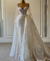 Роскошное свадебное платье с бисером роскоши для невесты 2021 прозрачные длинные рукава Африканские женщины Bling Sequin Bridal Ball Plasss Plus Размер