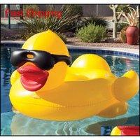 Pool flutua jangada 82,6 * 70.8 * 43.3inch natação pato amarelo flutua jangada espessa gigante pvc inflável pato piscina floa qyldpt new_dhbest