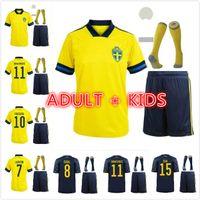 Hommes Kids Kits Ensemble 2021 Sweden Soccer Jersey Jeunesse Home Away Ibrahimovic Kit Kulusevski Berg Forsberg Larsson Tankovic Isak Claesson Chemise de football enfant