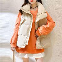 Winter Womens Waistcoat High Quality Keep Warm Gilet Jacket Coat Outwear 2021 Koren Style Fashion Solid Color Vest Tops #3
