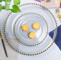 Weihnachten 21cm Gold Felge Glasperlenablage Transparente Glasperlen Platte Fruchtkuchen Western Teller Platte Goldene Randplatte Transparente Gerichte
