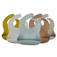 Bebek Silikon Önlüğü Bebek Önlükler Katı Renk Su Geçirmez Çocuk Silikon Önlük Bebek Tükürük Pirinç Cep Anne Bebek Ürünleri ZYY618