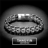 Charme Braceletes Tangyin Punk Estilo Homens Pulseira Na Moda Jóias De Couro De Couro De Aço Inoxidável Trançado Para Presentes De Aniversário