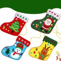 크리스마스 스타킹 DIY 수제 소재 패키지 선물 가방 눈사람 크리스마스 트리 크리스마스 양말 사탕 팩 장식