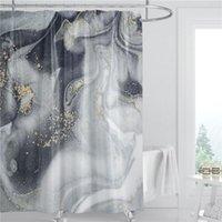 Rideau de douche en marbre Tissu de polyester en polyester 180cm Tissu étanche Décoration de salle de bain Été 3D Rideau de douche imprimée avec crochet FWA3956