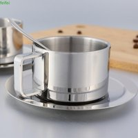 Mugs Stainless Steel Tea Coffee Mug Cups Double Wall Insulated Cup With Saucer Spoon Set For Milk Home Kitchen