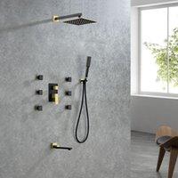 욕실 샤워 세트 럭셔리 4 기능 벽 마운트 수도꼭지 세트 100 % 황동 마사지 제트기 고압 차가운