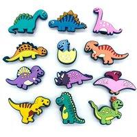 만화 공룡 Croc 매력 신발 부품 액세서리 장식 clog 매력 버클 팔찌 손목 밴드 단추 어린이 아이 선물