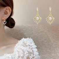 Stud Korean Version Of V-shaped Zircon Long Earrings Imitation Pearl Niche Design Temperament High-end Fashion Net Red