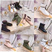 2021 зимние снежные ботинки высококачественные известные роскоши дизайнерские мода кожа теплые и легкие женские плоские дно низкие головки буквы кружев сверху вниз размером 35-41