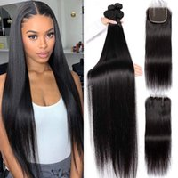 30 32 34 36 38 40 inch Brazilian Straight Human Hair Weaves Extensions 4 Bundles with Closure Free Middle 3 Part Double Weft Dyeable Bleachable 100g pc