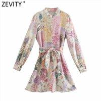 Zevity Donne Elegante Pink Flower Stampa Breasted ShodiaDress Femmina Manica lunga Arco Abiti Vestido Chic A Line Mini Abiti DS8173 210401