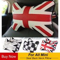 Seat Cushions 1pcs Car Union Jack Joint PU PP Cotton Headrest Neck Pillow Auto Back For MINI Cooper One S JCW Countryman Accessories