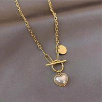 Pendant Necklaces Titanium Steel Punk Imitation Pearl Choker Necklace Collar Statement Gold Color Lasso For Women Jewelry