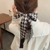 프랑스 천 조류 패턴 인쇄 실크 스카프 여성의 머리 리본 여성 스카프