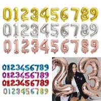 New32inch Номер алюминиевые фольги воздушные шары вечеринки поставки розовые золотые серебряные цифры рисунок воздушный шар детей взрослых день рождения декоративная игрушка EWF753